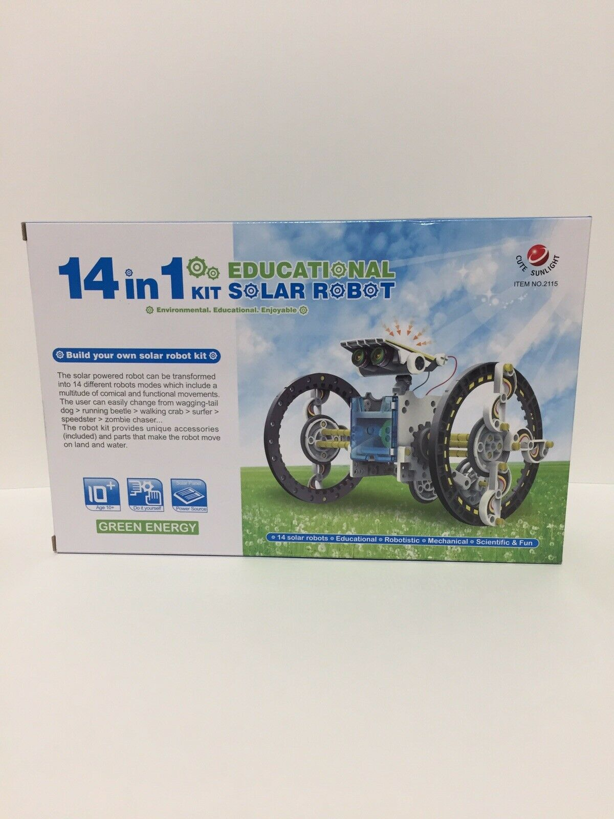 Cute Sunlight 14 In 1 Educational Science & Fun Solar Robot Kit Model. 2115 2
