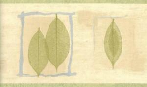 Pressed-Green-Leaf-Blue-Twig-Frame-Cream-Beige-Contemporary-Wallpaper-Border