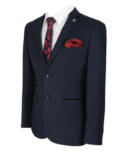 Men/'s /& Boys Paul Andrew Navy Blue Textured Business Wedding Tailored Fit Suit