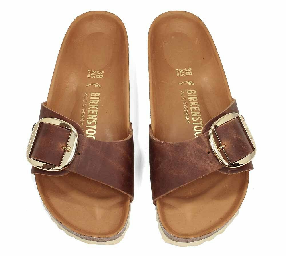 a433735b1707 Birkenstock Madrid Big Buckle Cognac Leather Sandals Womens EU 39 US ...