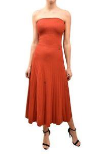Ronny Kobo Womens Striped Dress Slim Midi Strapless Red Size XS