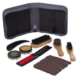 Man-039-Stuff-Shoe-Shine-Restore-Kit-Set-Brushes-Cloth-Black-Brown-Polish-Mens-Gift