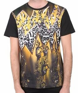 the best attitude f9432 7155a Image is loading Versace-Jeans-Black-Gold-Cheetah-Print-Men-039-
