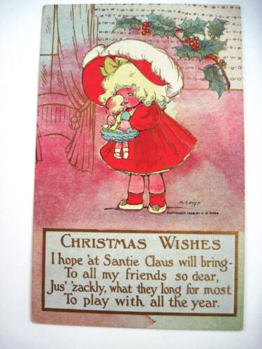 "1908 ""M.G.Hays"" Christmas Post Card w Little Girl Talking To Her Dolly Used"