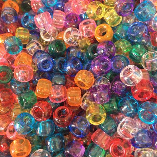 Mezcla de granos de poni Transparente 9x6mm todos los montantes Maniquí Clips Cochecito encantos Telar Bandas