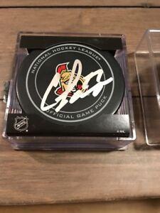W Coa Autographed NHL Pucks Curtis Lazar Autographed Hockey Puck
