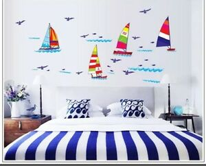 Details About Sailboat Wall Decal Sticker Nautical Baby Nursery Home Decor