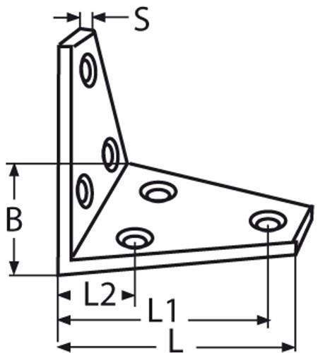 2 St 80 mm Edelstahl Winkel Beschlag Verbinder Lochwinkel Dreieck Holzverbinder