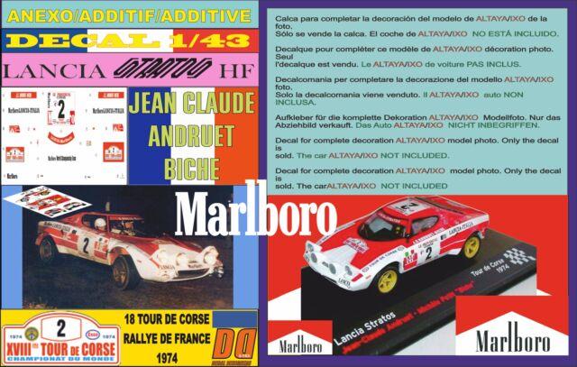 ANEXO DECAL 1/43 LANCIA STRATOS J-C. ANDRUET TOUR DE CORSE 1974 MARLBORO (01)