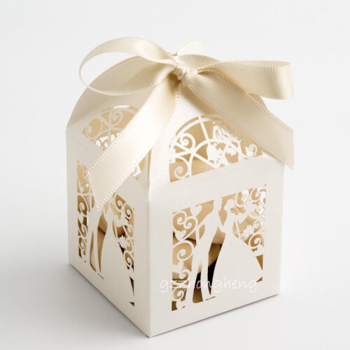 25//50//100 Luxury Wedding Favour Favor Sweet Boxes Place Cards Table Decorations