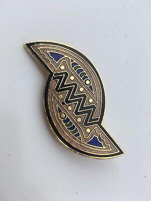 Vintage 1980s Abstract Pin Badge Enamel Art Deco Unworn Brooch NAVY BLUE 6cm