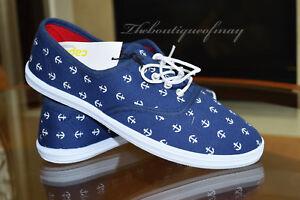 NEW-Capelli-New-York-Women-039-s-Anchors-Canvas-Sneaker-Dark-Blue-Size-9