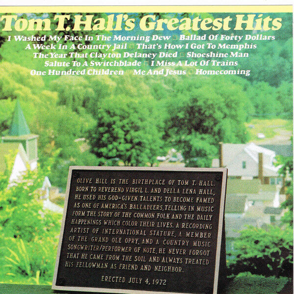 Tom T. Hall – Tom T. Hall's Greatest Hits - CD - Good Condition