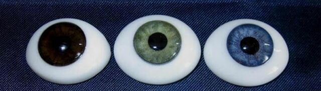 Oval Glass Natural Flat Back Paperweight Doll Eyes 18mm Green