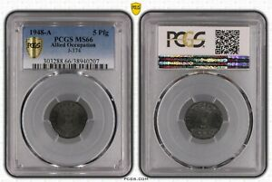 Allied Occupation 5 Pfennig 1948 A PCGS Certified PCGS MS66 50874