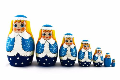SnowMaiden Father Frost Xmas Matryoshka Russian Nesting Dolls Stacking 7 Pcs