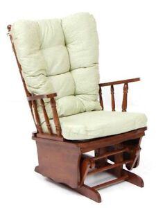 Poltrona-sedia-a-dondolo-vintage-in-legno-massello-relax-con-cuscino-verde