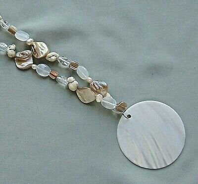 Natural Abalone Shell Hand Carved Mother of Pearl Pendant Bead necklace CA141