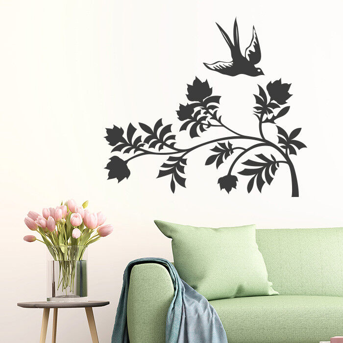 Tatuaggio Parete Fiore con uccelli, piante, Adesivo Muro Parete Adesivo Parete Decorazione