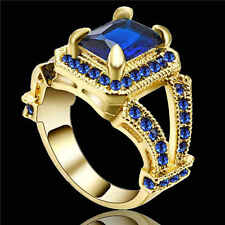 Size 7Jewelry Woman's Fashion Blue Sapphire Yellow Rhodium Plated Wedding Rings
