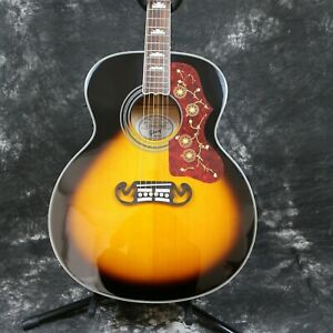 Handmade-Solid-Top-Acoustic-Guitar-Bone-Nut-amp-Saddles-Flower-Abalone-Inlay