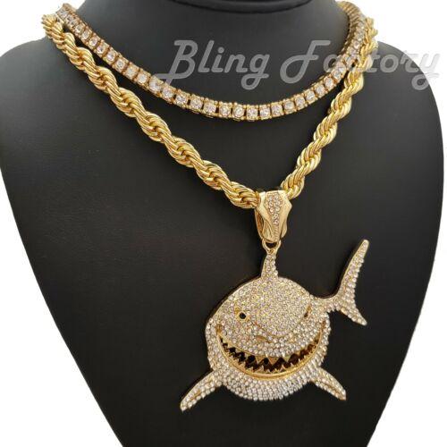 "Hip Hop 6ix9ine Large Shark Pendant /& 24/"" Rope Chain /& 18/"" 1 Row Chain Necklace"