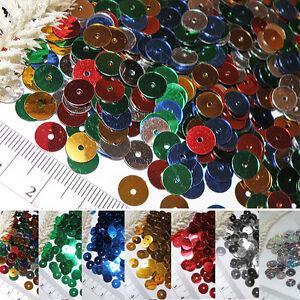 Pailletten-8mm-rund-glatt-FLACH-ca-400-425-Stueck-Farbwahl-Glanz
