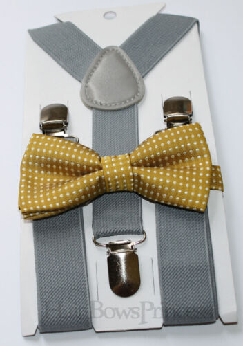 Kids Boys Baby gray Suspenders mustard gold bow tie 6months 5T Christmas