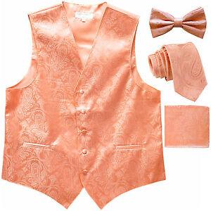 371dea374949 Details about New Men's Paisley Tuxedo Vest Waistcoat & necktie & Bow tie &  Hankie Peach prom