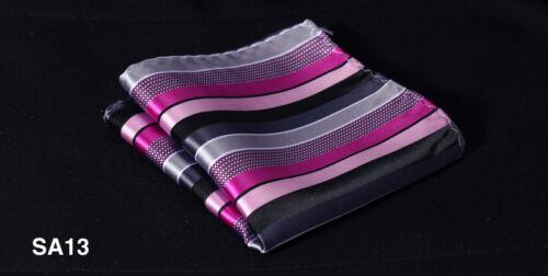 SA Stripe Men Silk Satin Pocket Square Hanky Wedding Handkerchief