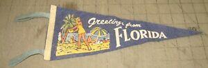 "Vintage Greetings from FLORIDA 12"" 4-Tassel BLUE PENNANT - People on Beach Art"