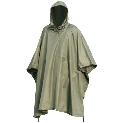 US Army Style Waterproof Ripstop Hooded Poncho Camping Festival Basha Olive Drab