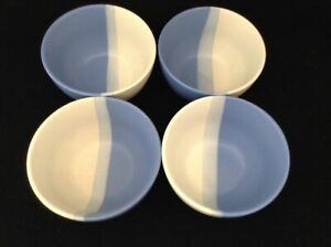 Stoneware-Cereal-Soup-Bowls-Gradient-Blues-amp-White-Ringed-Set-of-4-Unmarked-Nice