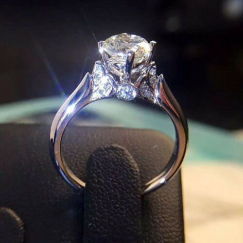 Round Cut 1ct Unique AAA Cz Claw Ring 925 Silver Women/'s Engagement Jewelry Band