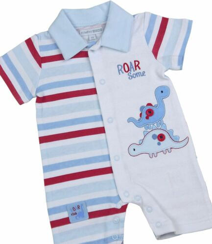 6m Babyprem bebé niños ropa azul dinosaurio mameluco traje de verano ropa Nb