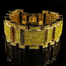14k Gold Iced out Micropave Simulate Diamond Men Hip Hop Bracelet 1