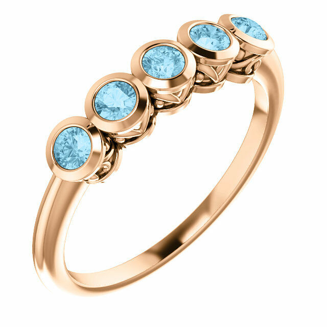 Genuine Aquamarine Five-Stone Bezel Set Ring In 14K pink gold