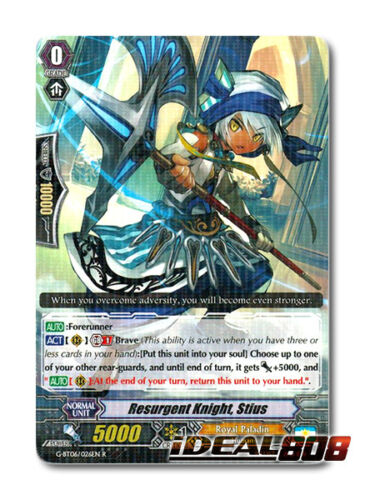 Cardfight Vanguard  x 4 Resurgent Knight G-BT06//026EN R Pack Fresh Mi Stius