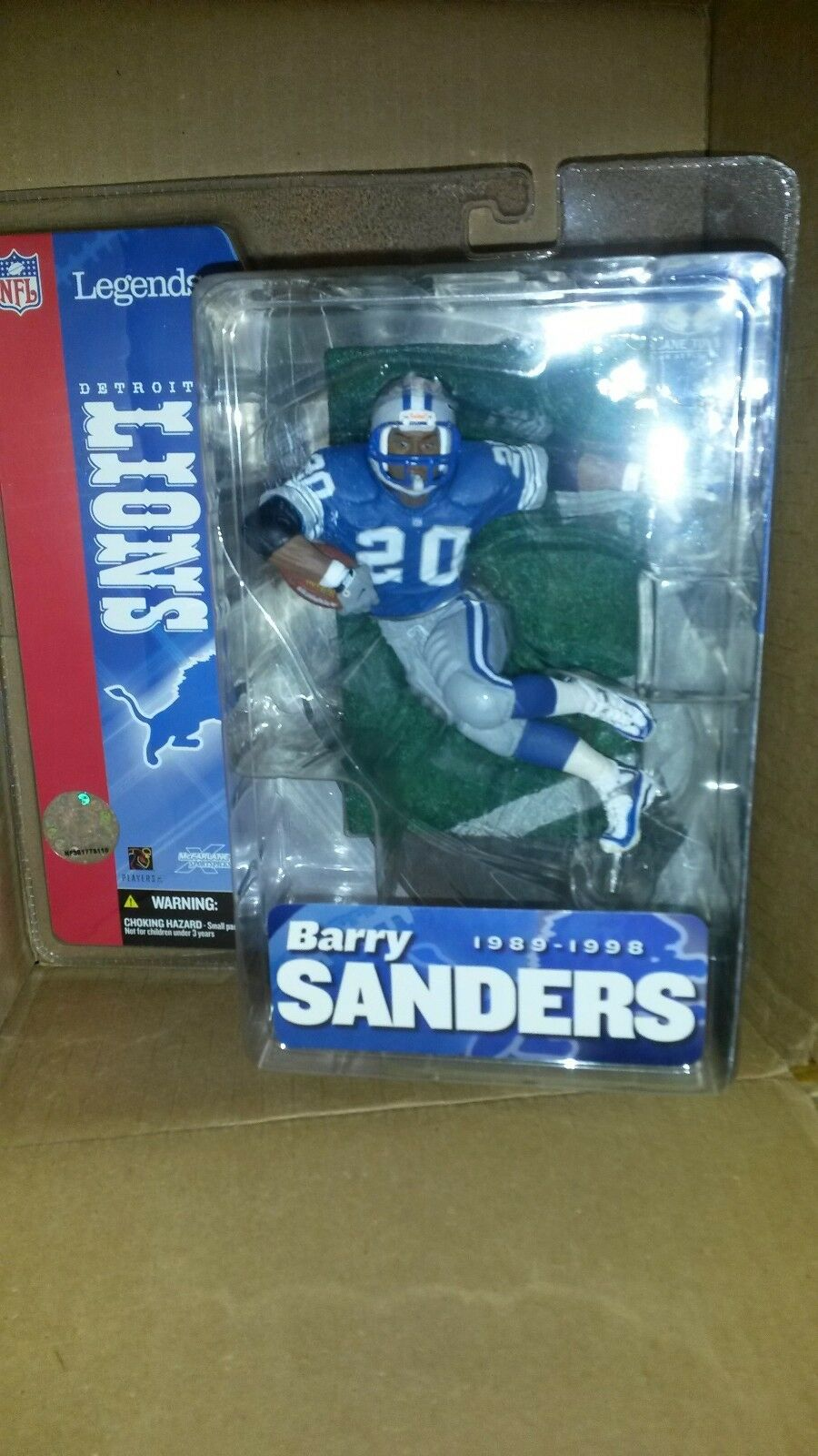 McFarlane NFL LEGENDS BARRY SANDERS DETROIT DETROIT DETROIT LIONS blueE JERSEY NEW IN BOX 23ede1