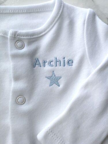 Personalised Baby Grow Dormir Costume Avec Brodé Star pour enfants et initiales