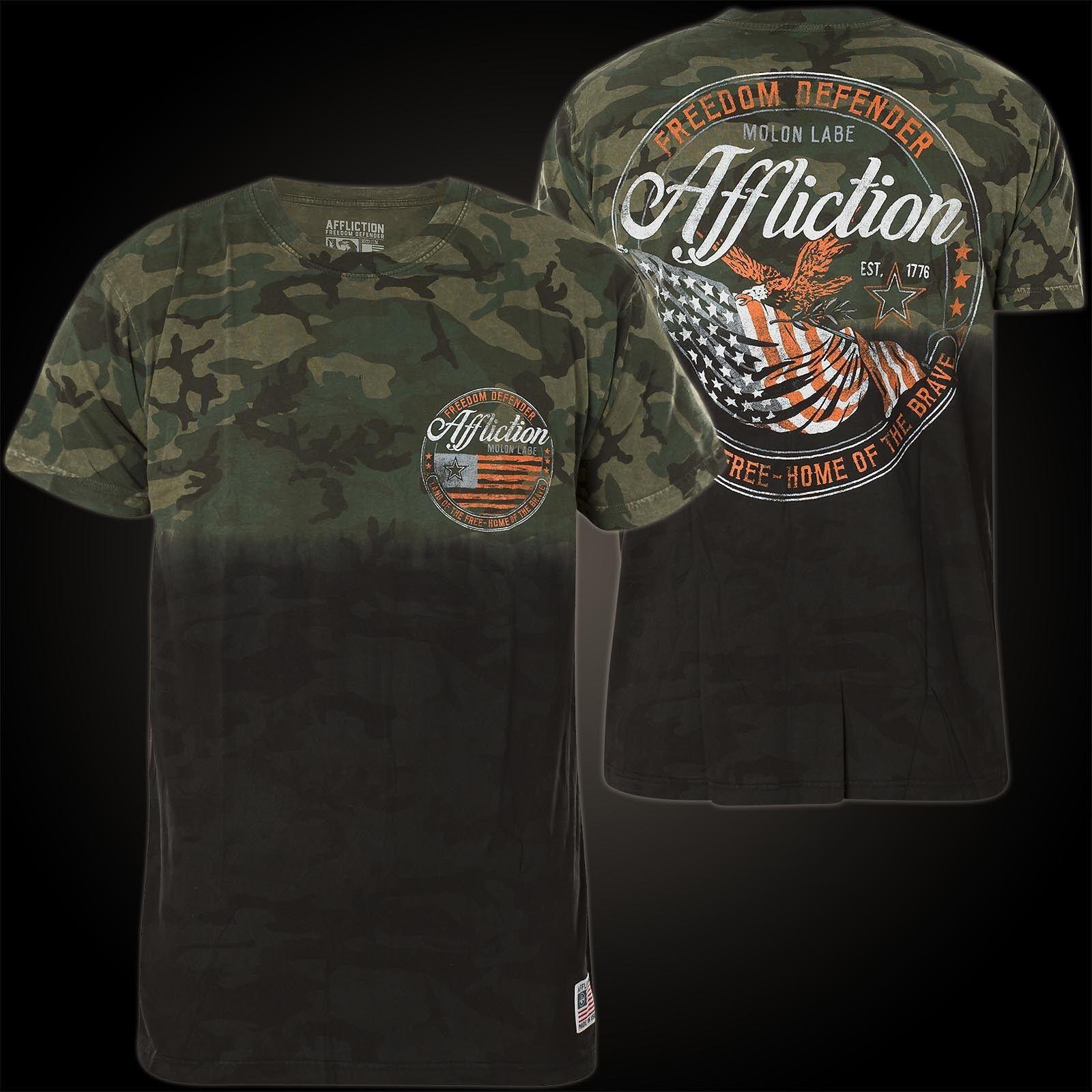 AFFLICTION T-Shirt Flag Of Freedom Schwarz/Grün T-Shirts