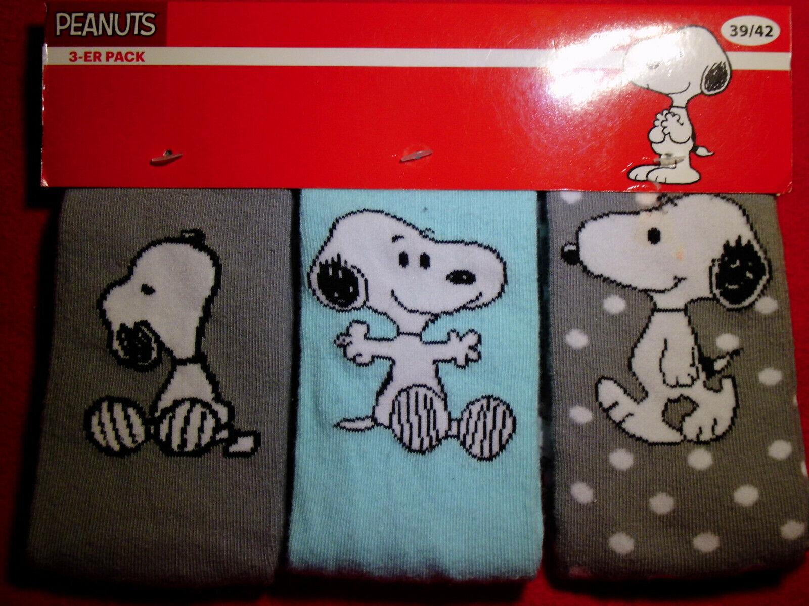 NEU Snoopy Peanuts Gr.39-42 3 PAAR Damen Comic Socken Strümpfe so süß