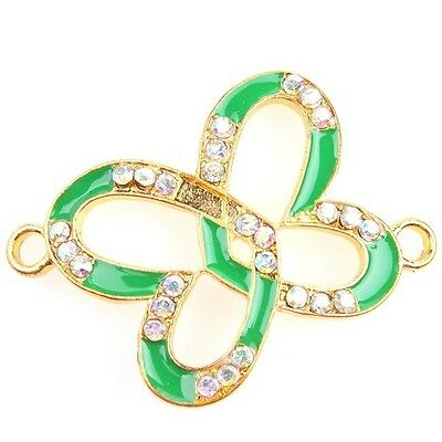 6/30pcs Pretty Gold AB Rhinestone Colorful Enamel Butterfly Alloy Connectors L