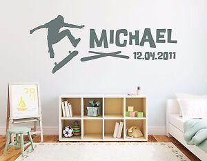 Das Bild Wird Geladen Wandtattoo Tuerschild NAME Kinder Junge Wunschname  Kinderzimmer Skateboard