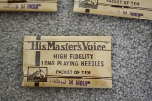 His Master's Voice. High Fidelity Long Playing Needles x 1 packet of ten.