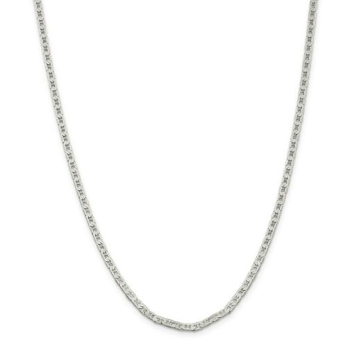 """Solid 14k White Gold Over 3mm Flat Anchor 24/"""" Chain for Women"""