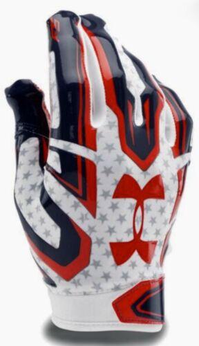 UNDER ARMOUR UA F5 Stars Navy Blue White Red Skill Football Gloves NEW Mens L