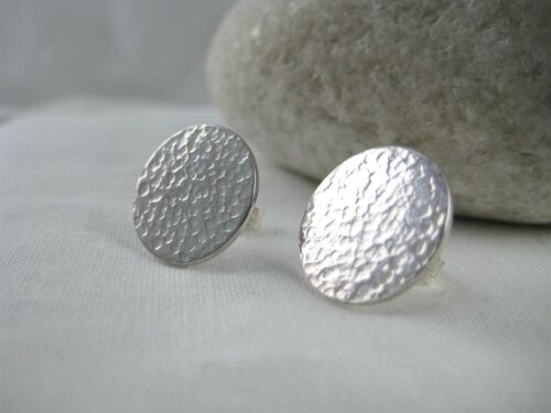 Sterling Silver 925 Sparkly Hammered Round Disc Ear Stud Earrings Handmade Uk