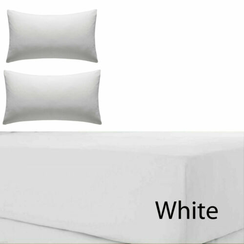 """30cm Box Bed Single Double Super King Size Percale Extra Deep Fitted Sheet 12/"""""""