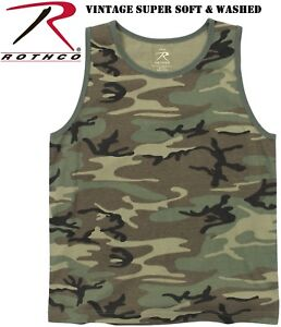 940e3a62290 Details about Vintage Washed Cotton Woodland Camo Tactical Military Army  Camo Tank Top 9593